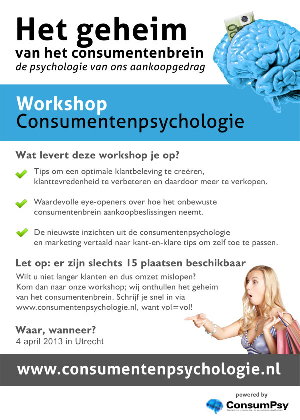 flyer workshop consumentenpsychologie